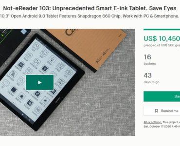 Dasung Not-eReader 103 na Kickstarterze