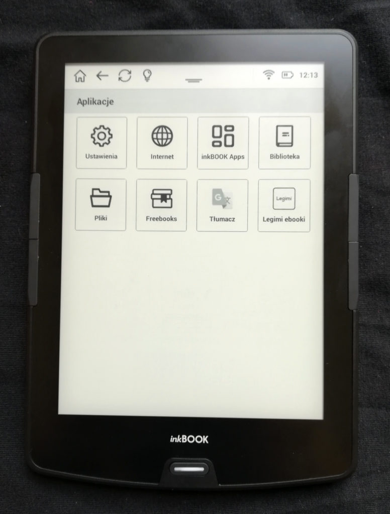 Menu z aplikacjami inkBOOKa Calypso