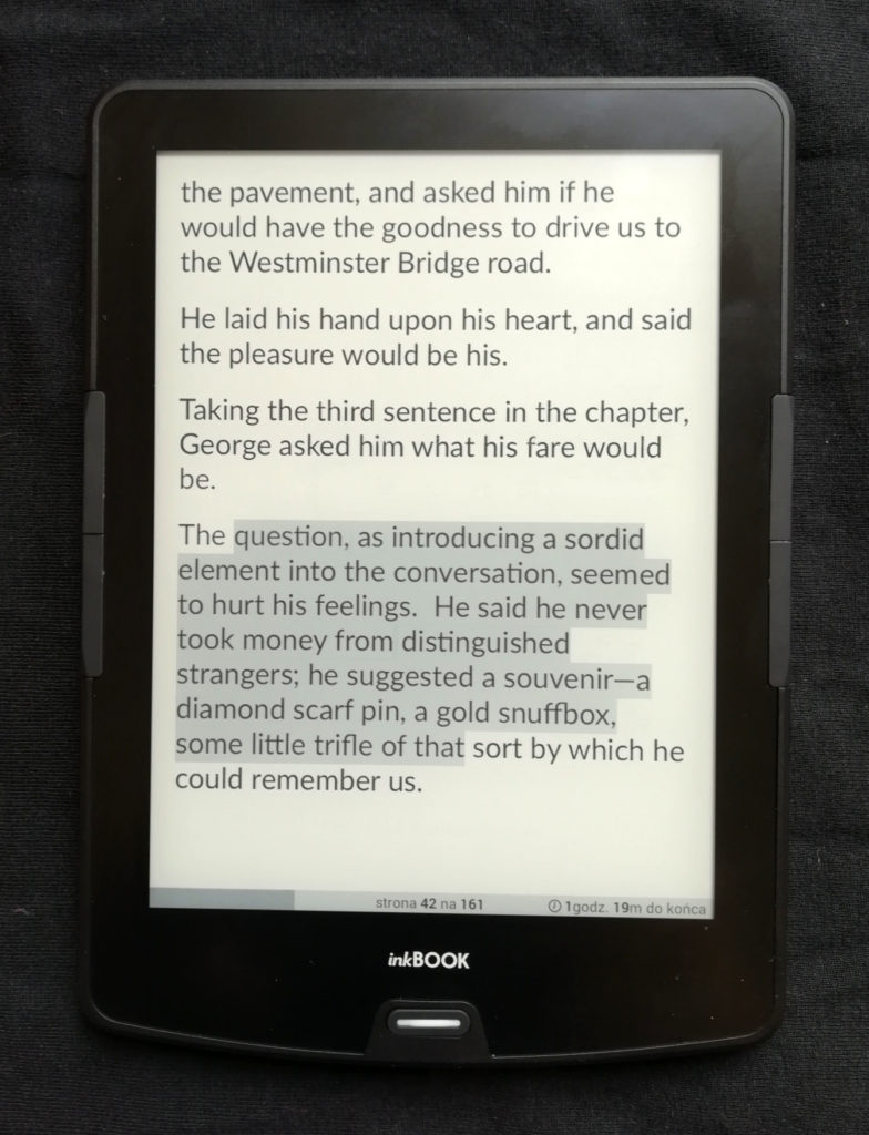 Podkreślanie tekstu na inkBOOKu Calypso