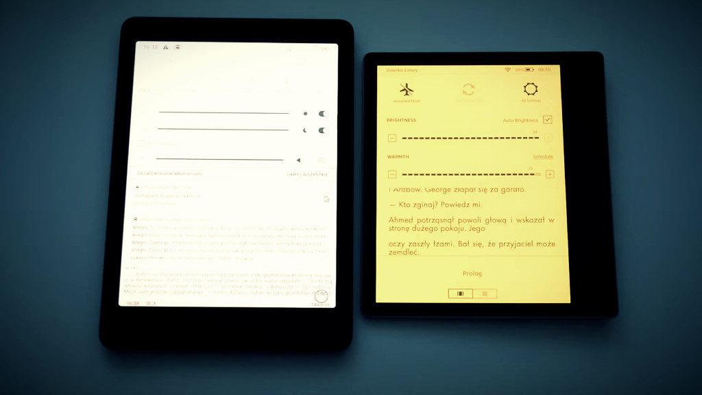 Podświetlenie ekranu na na czytnikach Onyx Boox Nova 2 i Kindle Oasis 3