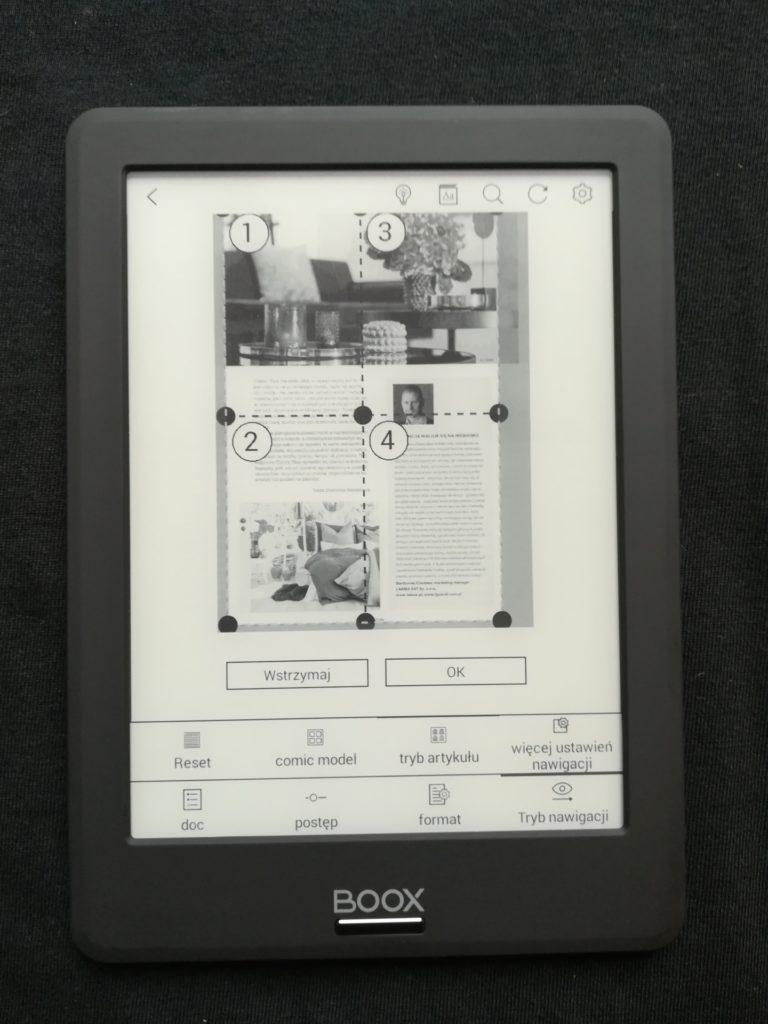 Ustawienia podglądu pliku PDF na czytniku Onyx Boox Viking