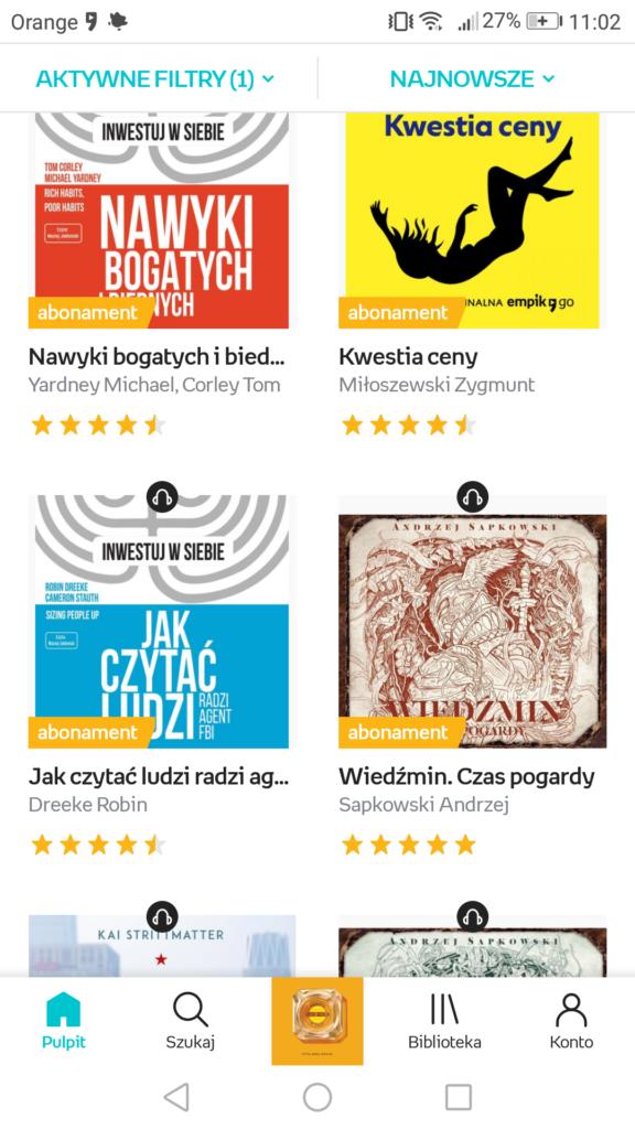 Przeglądanie dostępny audiobooków w aplikacji Empik Go