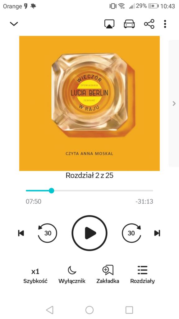 Menu audiobooka w aplikacji Empik Go