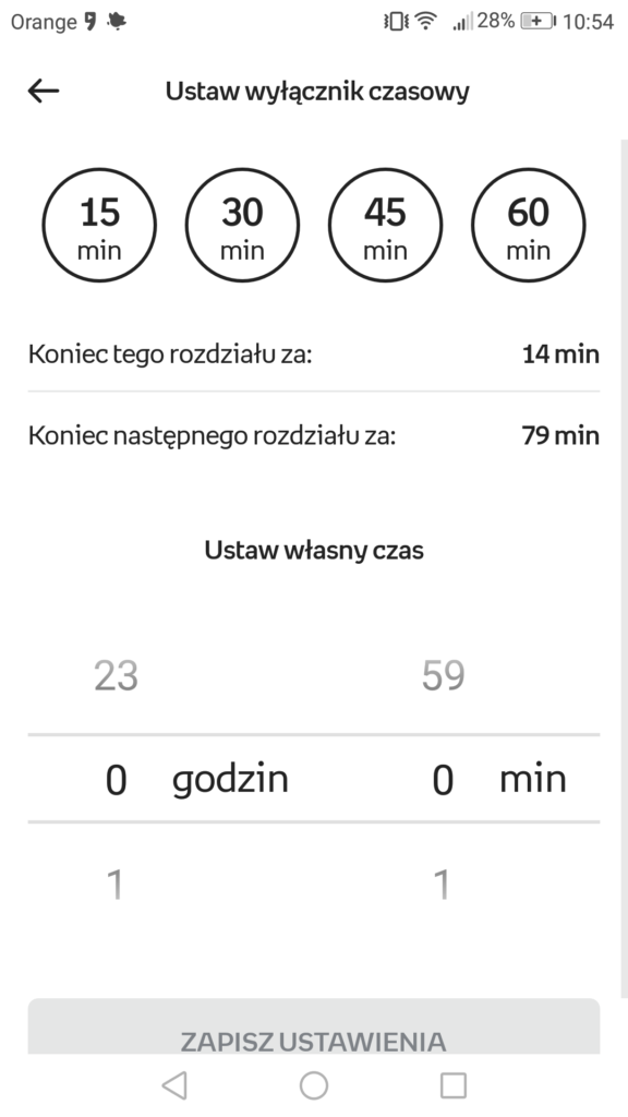 Ustawianie wyłącznika czasowego w aplikacji Empik Go