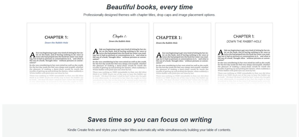 Różne style ebooka w programie Kindle Create