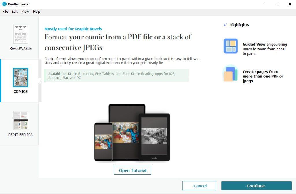 Tworzenie komiksów w programie Kindle Create
