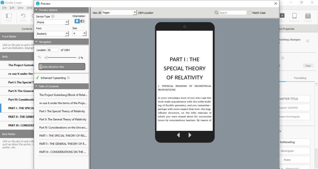 Podgląd ebooka na smartfonie w programie Kindle Create