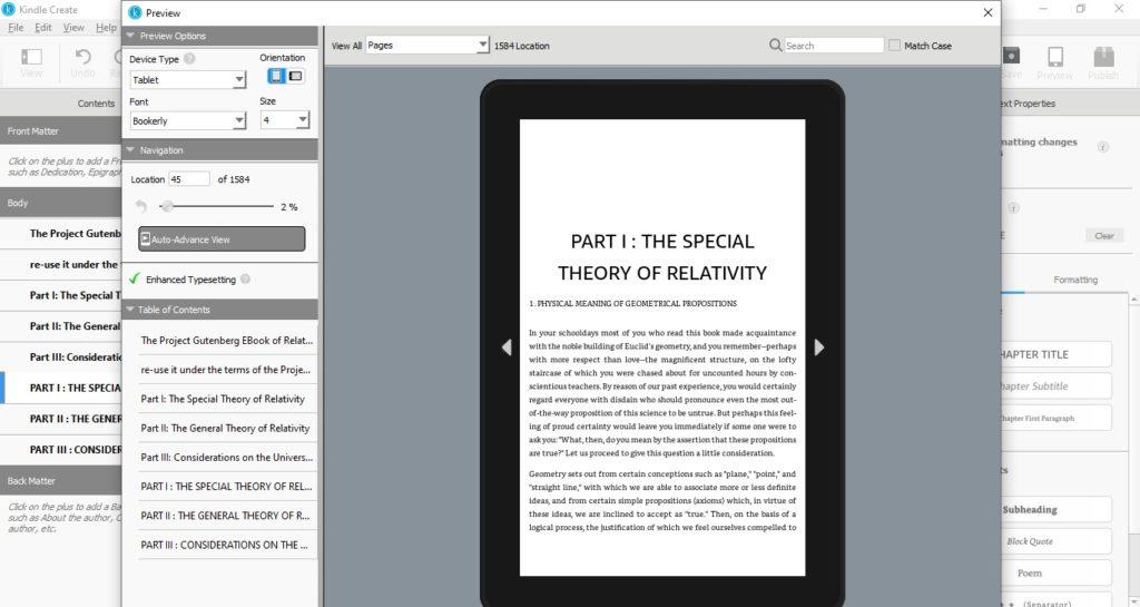 Podgląd ebooka na tablecie w programie Kindle Create