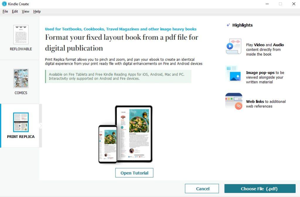 Publikacja typu Print Replica w programie Kindle Create