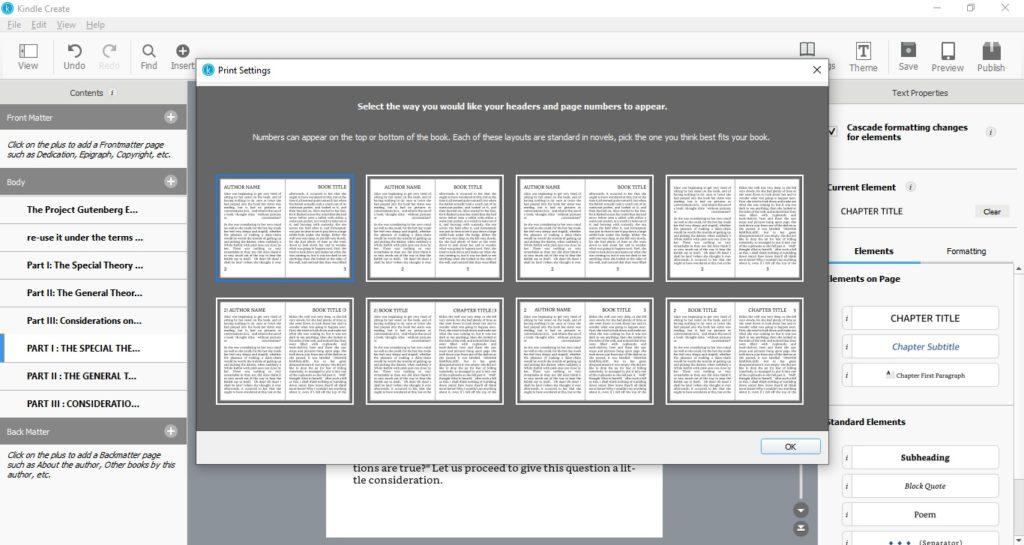 Ustawienia stron i nagłówków w programie Kindle Create