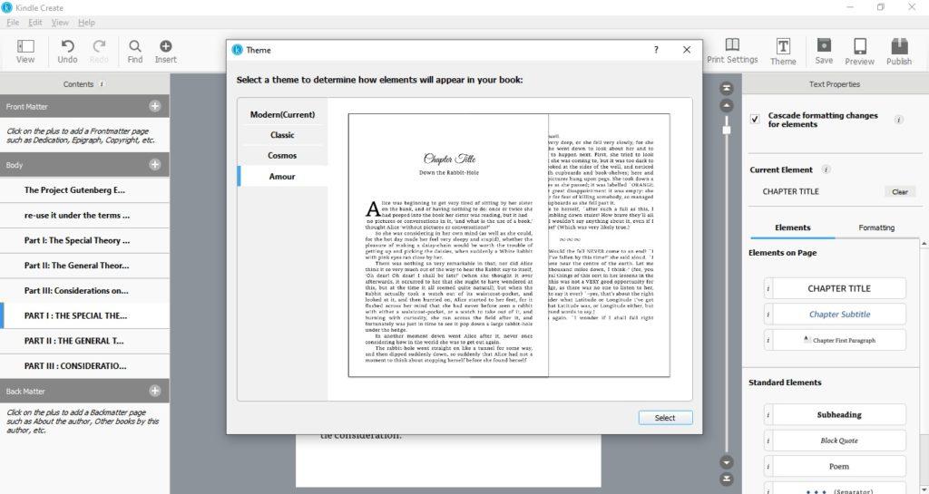 Wybór stylu publikacji w programie Kindle Create
