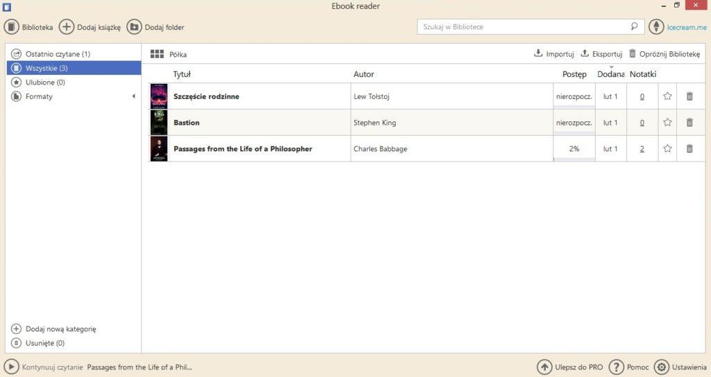Biblioteka w aplikacji Icecream Ebook Reader