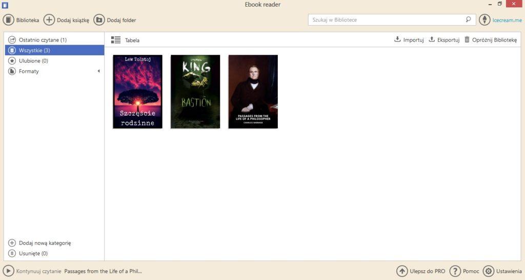 Biblioteka (tabela) w aplikacji Icecream Ebook Reader