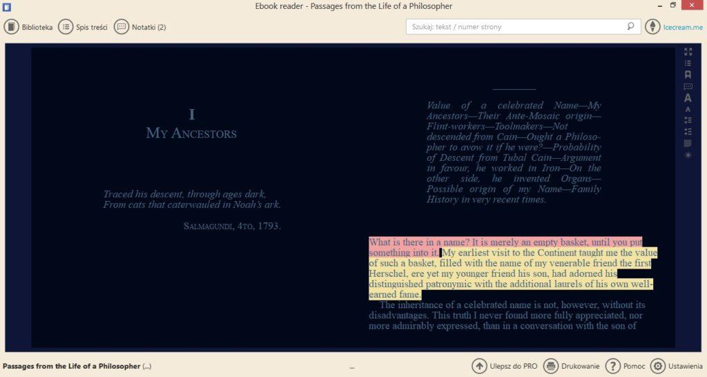 Ciemny tryb ekranu w aplikacji Icecream Ebook Reader