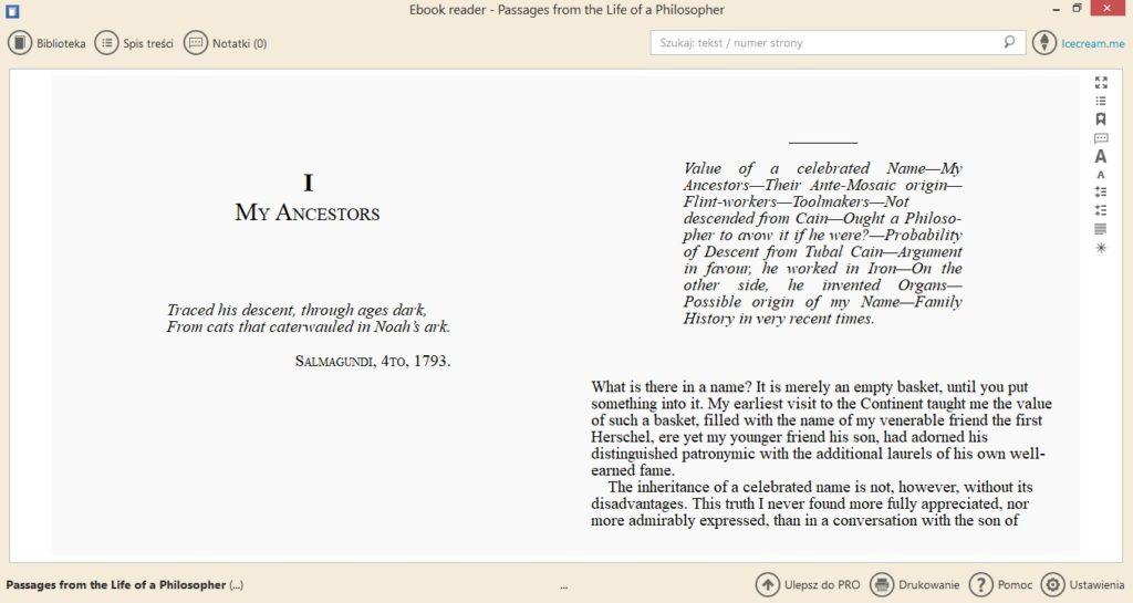 Podgląd ebooka w aplikacji Icecream Ebook Reader