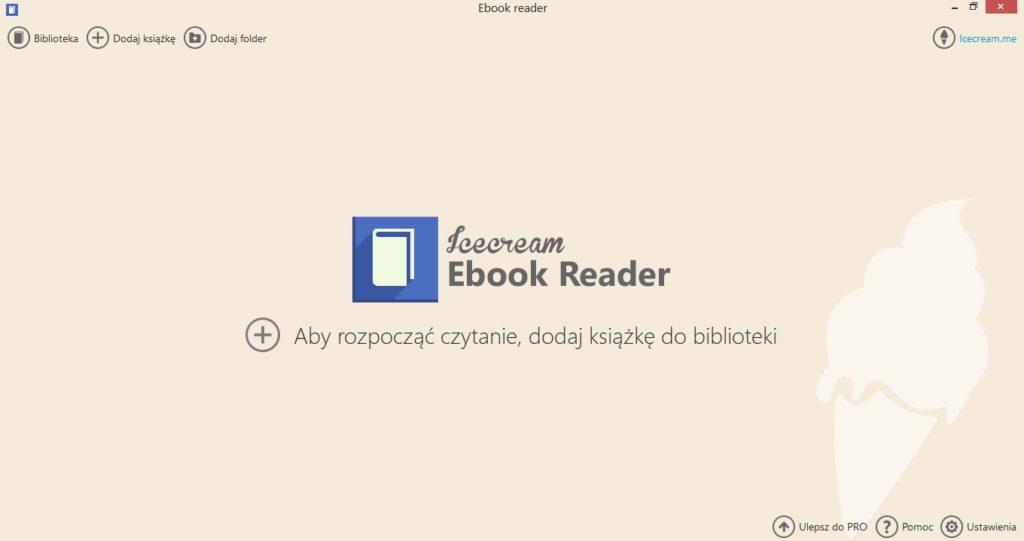 Ekran powitalny w aplikacji Icecream Ebook Reader