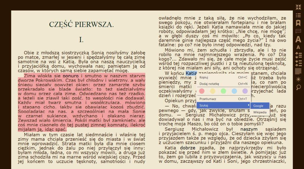 Wyszukiwanie haseł w Google i na Wikipedii w aplikacji Icecream Ebook Reader