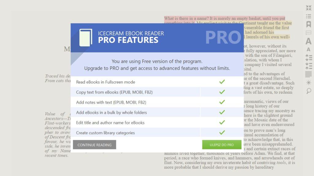 Banner z reklamą wersji PRO w aplikacji Icecream Ebook Reader