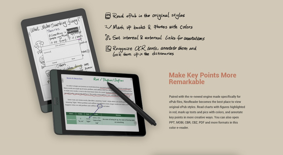 Oznaczanie fragmentów tekstu i robienie notatek na czytniku Onyx Boox Nova 3 Color