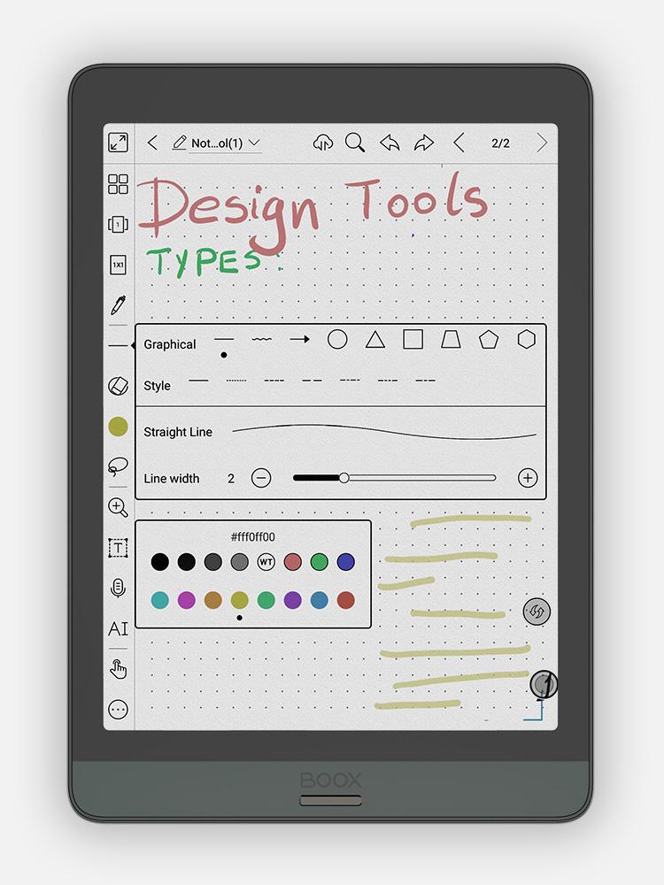 16 różnych kolorów, nowe typy pędzli, linii i kształtów na czytniku Onyx Boox Nova 3 Color