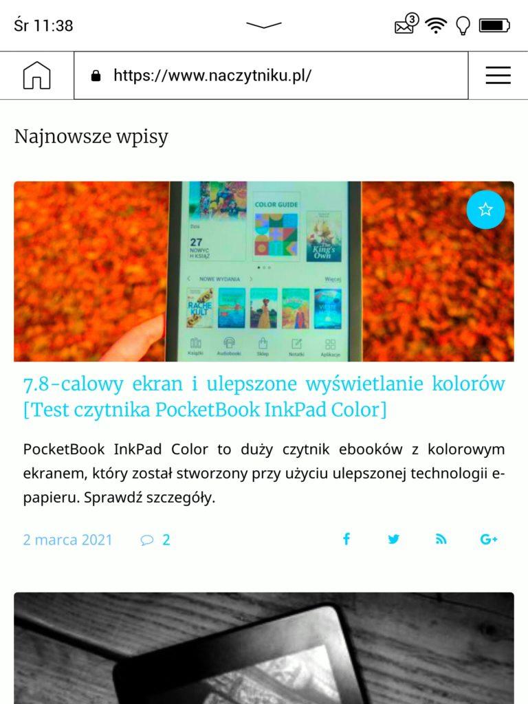 Przeglądanie Internetu na czytniku PocketBook InkPad Color