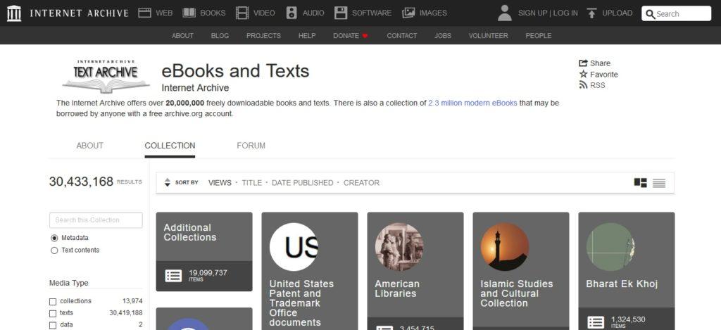 Kategorie zeskanowanych materiałów w Internet Archive