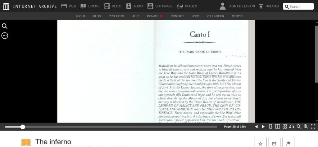 Podgląd zeskanowanej książki w bazie Internet Archive