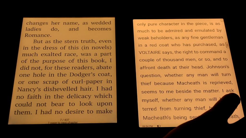 Podświetlenie ekranu na czytnikach Onyx Boox Nova 3 i PocketBook InkPad 3 Pro
