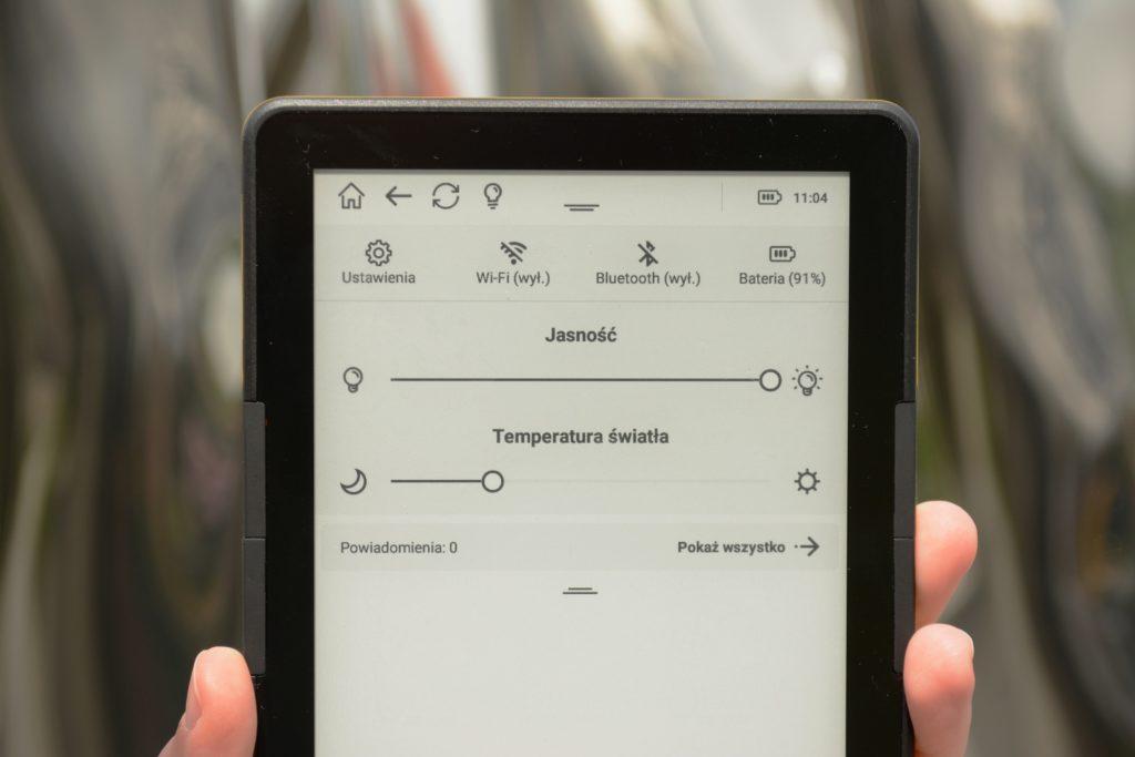 Regulacja podświetlenia ekranu na czytniku InkBOOK Calypso Plus